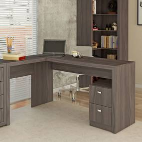 Mesa para Escritório 2 Gavetas Me4129 Carvalho - Tecno Mobili
