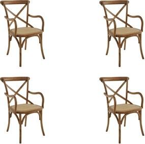 kit 4 Cadeiras Decorativas Sala de Jantar Cozinha Danna com Apoio Rattan Natural Bétula - Gran Belo