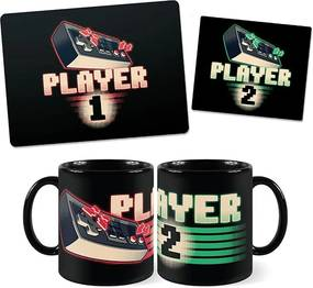 Kit Canecas e MousePad Player 1 e 2