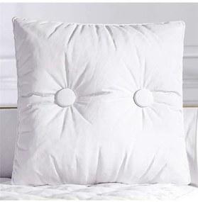 Almofada Branca Quadrada Botões 38cm Grão de Gente