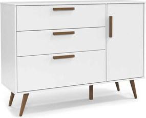 Cômoda com porta Retrô Branco-Acetinado e Eco Wood Matic Móveis