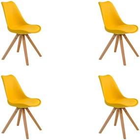 Kit 4 Cadeiras Decorativas Sala e Escritório Neo (PP) Amarela- Gran Belo