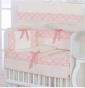 Kit para Mini Berço I9 Baby 8 peças 100% AlgodÁo Nobless Rosê