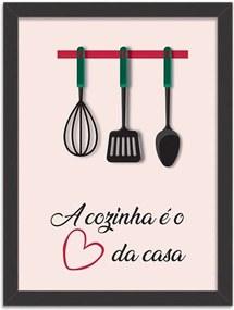 Quadro Decorativo A Cozinha é o Coração da Casa Preto - Grande