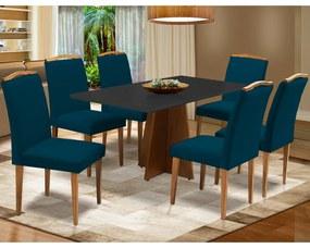 Conjunto Mesa Leticia 1,60 m Preto + 6 Cadeiras Keli Veludo Azul Marinho