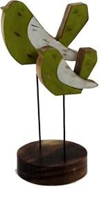Casal Decor Grouperativo de pássaros em madeira rústica 28cm - Grouper