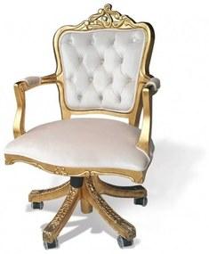Poltrona Giratória Luis XV Madeira Maciça Design de Luxo Peça Artesanal