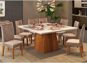 Mesa de Jantar Paris 140cm Rústico Terrara Off White + 8 Cadeiras Lucila Veludo Kraft