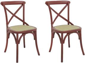 kit 2 Cadeiras Decorativas Sala De Jantar Cozinha Danna Rattan Natural Vermelha - Gran Belo