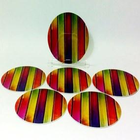 Conjunto com 6 Porta Copos Redondos Madeiras Coloridas