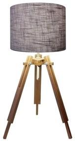 Abajur Tripe Madeira Md-2024 Cúpula em Tecido 30x25cm Cinza - Bivolt