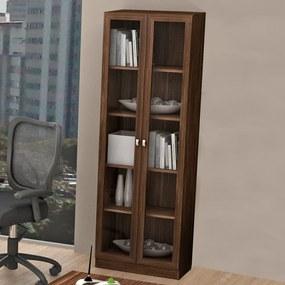 Armário para Escritório Com Porta de Vidro Me4115 Nogal - Tecno Mobili