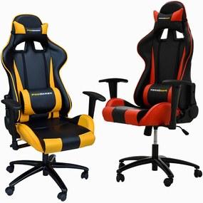 Kit 02 Cadeiras Gamer Giratória Reclinável com Regulagem de Altura PRO-V Sport PU Sintético Preto/Vermelho e Amarelo - Gran Belo