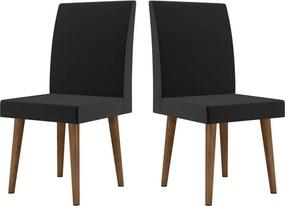Kit com 2 Cadeiras Jade Pé Palito Preta - RV Móveis