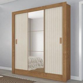 Guarda-Roupa Casal Torino 3 Portas 3 Gavetas com Espelho Flex Canelato Rústico/Natura Off White - Atualle Móveis