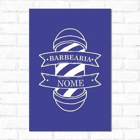 Placa Decorativa Personalizado Barbearia Azul