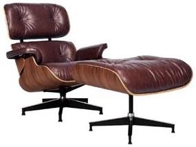 Poltrona Charles Eames com Puff Couro Natural Legitimo Premium Marrom