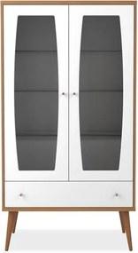 Cristaleira 2 portas e 1 gaveta, Branco Gloss com Natural, Fendi