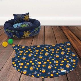 Tapete PET Mdecore Cabeça de Gato Foguete Azul Marinho 54x39cm