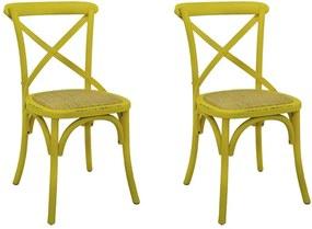Kit 2 Cadeiras Decorativas Sala De Jantar Cozinha Danna Rattan Natural Amarela - Gran Belo
