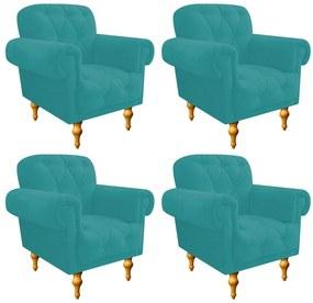 kit 04 Poltronas Decorativas Dani Suede Azul Turquesa - ADJ Decor