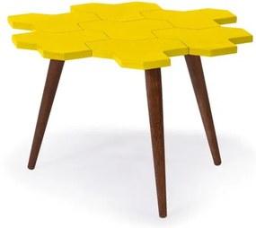 Mesa de Centro Colméia com Tampo Amarelo Laqueado e Estrutura Madeira Maciça