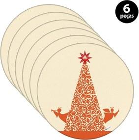 Sousplat Mdecore Natal Arvore de Natal 35x35cm Bege6pçs
