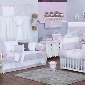 Quarto de Bebê Chevron Noblesse Rosa 40 Peças
