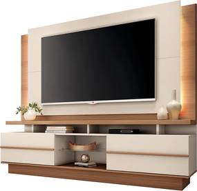 Estante Home Theater para TV até 70'' Kurt Off White / Nature - Gran Belo