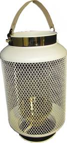 Lanterna Decorativa Branca Detalhes Dourados44 cm x 27 cm