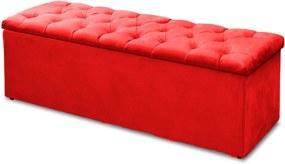 Calçadeira Recamier Baú Casal King 190cm Sofia Suede Vermelho - DS Móveis