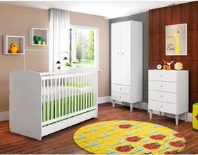 Quarto de Bebê Docinho Berço Mini Cama Roupeiro e Cômoda Branco