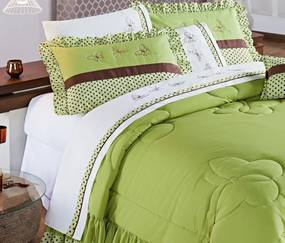Roupa de Cama Queen Naturalle 150 Fios 04 Peças - Poá Verde