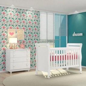 Quarto de Bebê Cômoda Amore e Berço Colonial Baby Branco - Qmovi