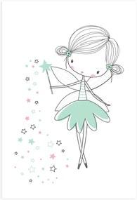 Placa Decorativa Quarto de Menina Fada Verde 20x30cm