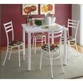 Conjunto Mesa Com 04 Cadeiras Luca 950 Branca Floral Vermelho Bona Vita