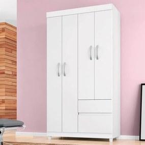 Guarda-roupa Matizi C/ 4 Portas e 2 Gavetas Branco / Rosa Flex