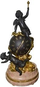 Relógio com  Castiçal Base em Mármore de Anjos Rose