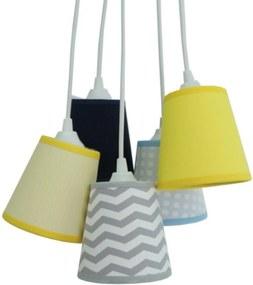 Lustre Pendente Mix Tecidos Bebê Chevron Crie Casa Cinza, Azul e Amarelo
