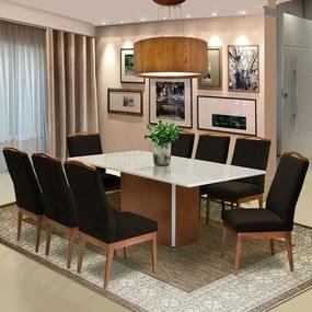 Conjunto Mesa Jade 2,08 m Off White + 8 Cadeiras Lara Veludo Marrom
