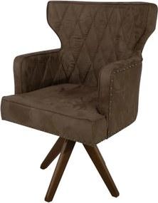 Cadeira de Jantar Estofada Matelassê com Tachas Giratória - Wood Prime PP 35082