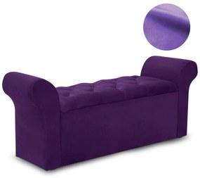 Recamier Calçadeira Baú Miami Veludo Roxo - Simbal - Violeta escuro