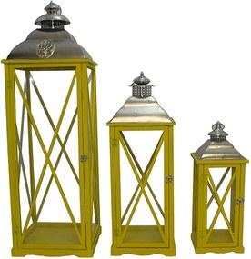 Conjunto com 3 Lanternas Grandes Biblos Amarelas