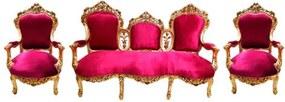 Sofá Clássico Estilo Luis XV + 2 Poltronas Clássicas Estilo Luis XV Folhadas a Ouro