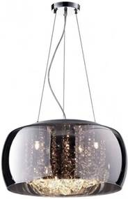 Lustre Pendente de Cristal e Cúpula de Vidro Cromado 40cm