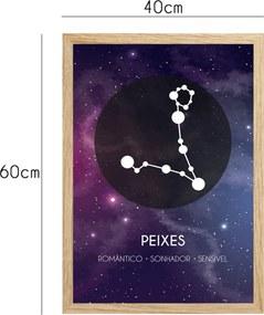 Quadro Oppen House  Signos Peixes Zodíaco Horóscopo Natural e Vidro Decorativo