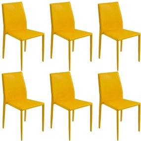 Kit 6 Cadeiras Decorativas Sala e Cozinha Karma PVC Amarela - Gran Belo