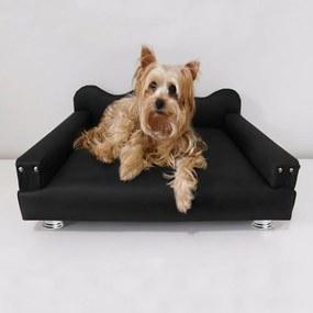 Cama Sofá Pet Meg Para Cães E Gatos Elegante e confortável Courino Preto