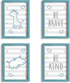 Quadro Infantil Girafa e Hipopótamo Azul Kit 4un Moldura Azul