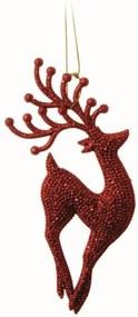 Enfeite para Arvore Rena Vermelho com Glitter - 2 Unidades 17 X 6 Cm